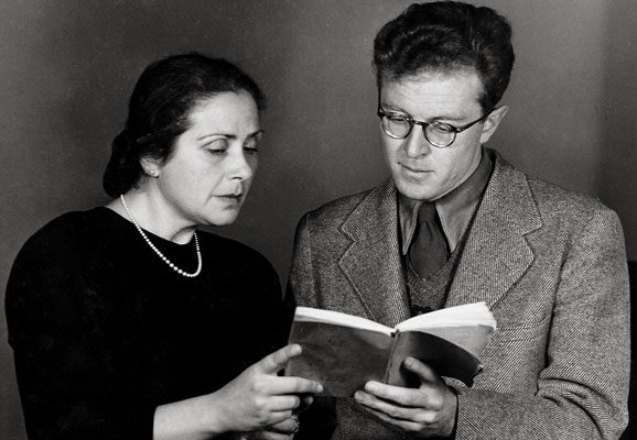 "Maria Dronke and Douglas Lilburn, publicity photograph for ""Cornet Rilke"" (c. 1950)"